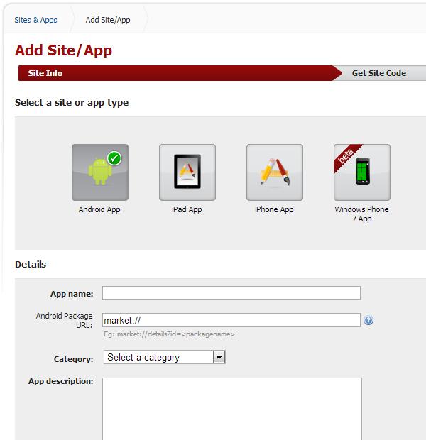 Admob Add Site or App