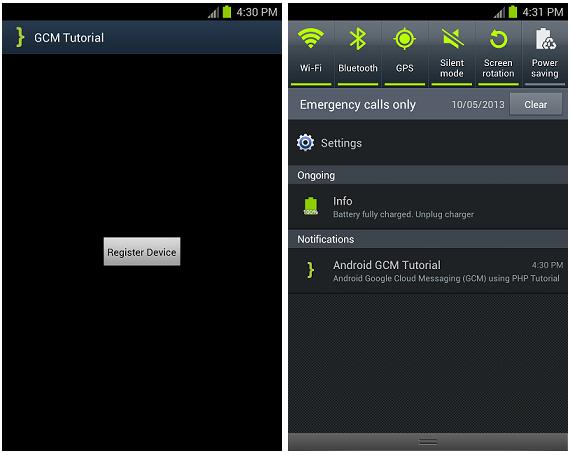 Android GCM Tutorial ScreenShot