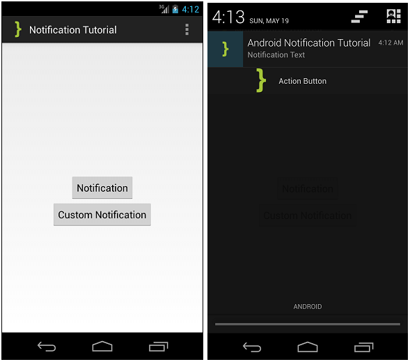 Android Notification Tutorial ScreenShot