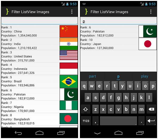 Filter ListView Images ScreenShot