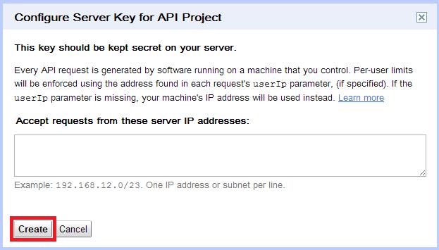 GCM Google API Create Server Configuration
