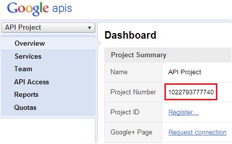 GCM Google API Project Number