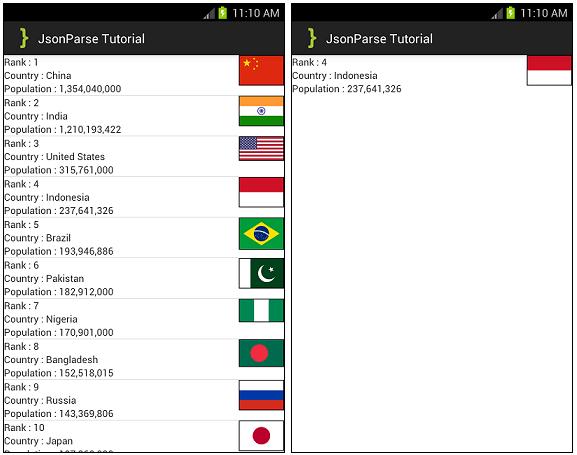 JSONParseTutorial ScreenShot