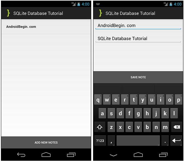 SQLite Database Tutorial ScreenShots