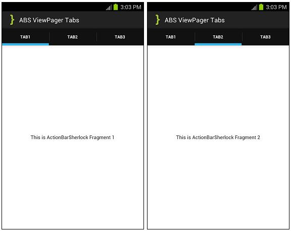 ActionBarSherlock ViewPagerTabs Screenshot
